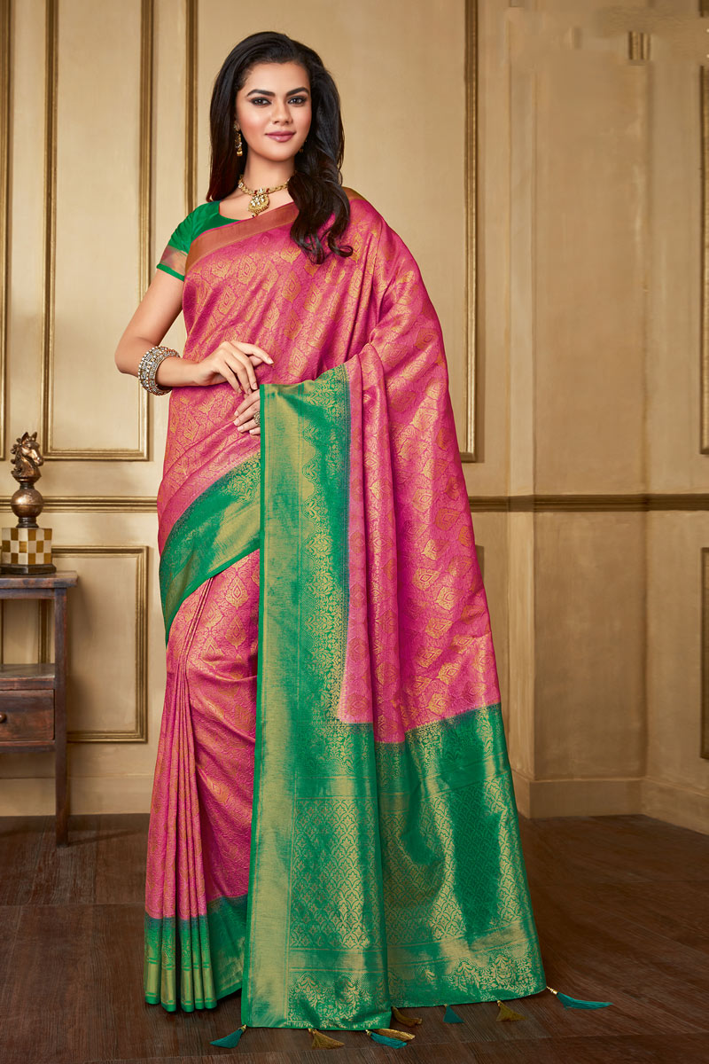 Pink Color Art Silk Fabric Occasion Wear Saree With Weaving Work