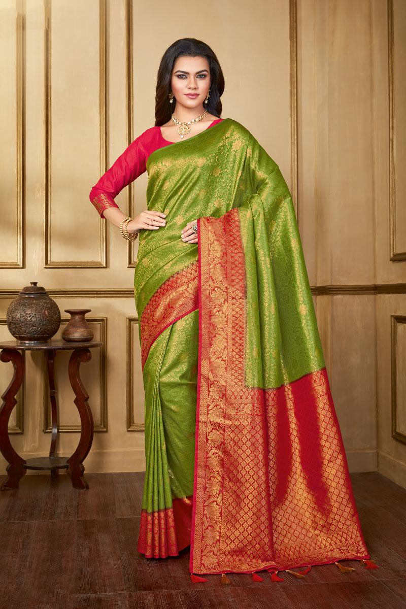 Art Silk Fabric Weaving Work On Green Color Reception Wear Saree