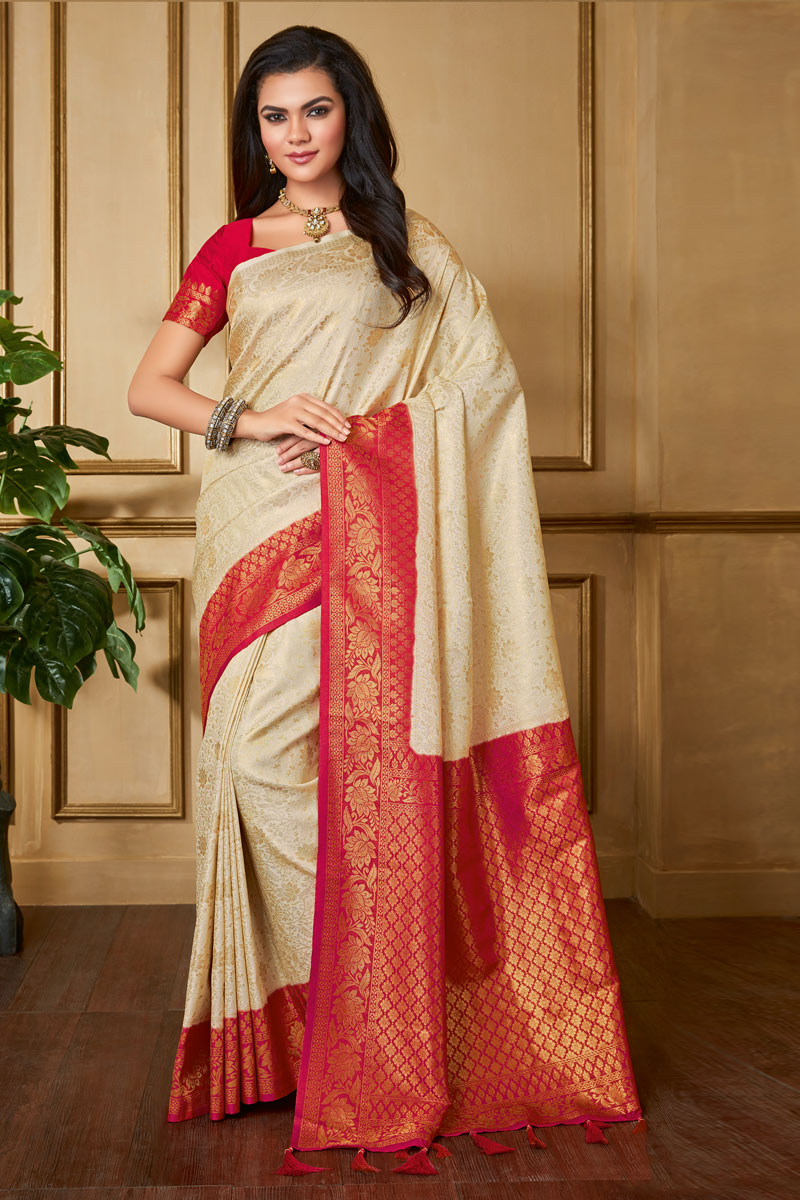 Weaving Work On Art Silk Fabric Beige Color Party Wear Saree With Designer Blouse
