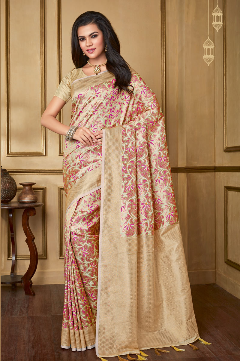 Weaving Work On Beige Color Art Silk Fabric Designer Saree