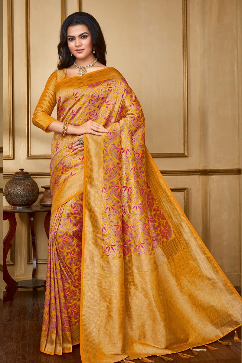 Orange Color Art Silk Fabric Function Wear Saree With Weaving Work Designs