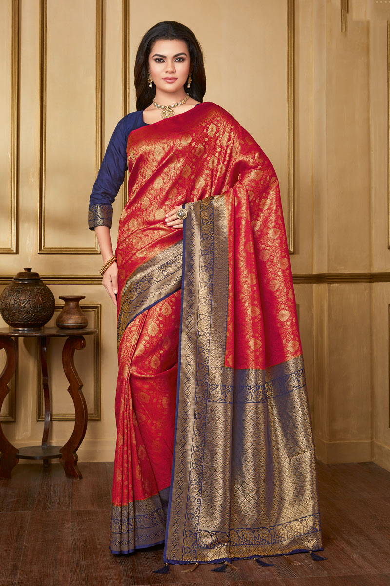 Art Silk Fabric Red Color Occasion Wear Saree With Weaving Work