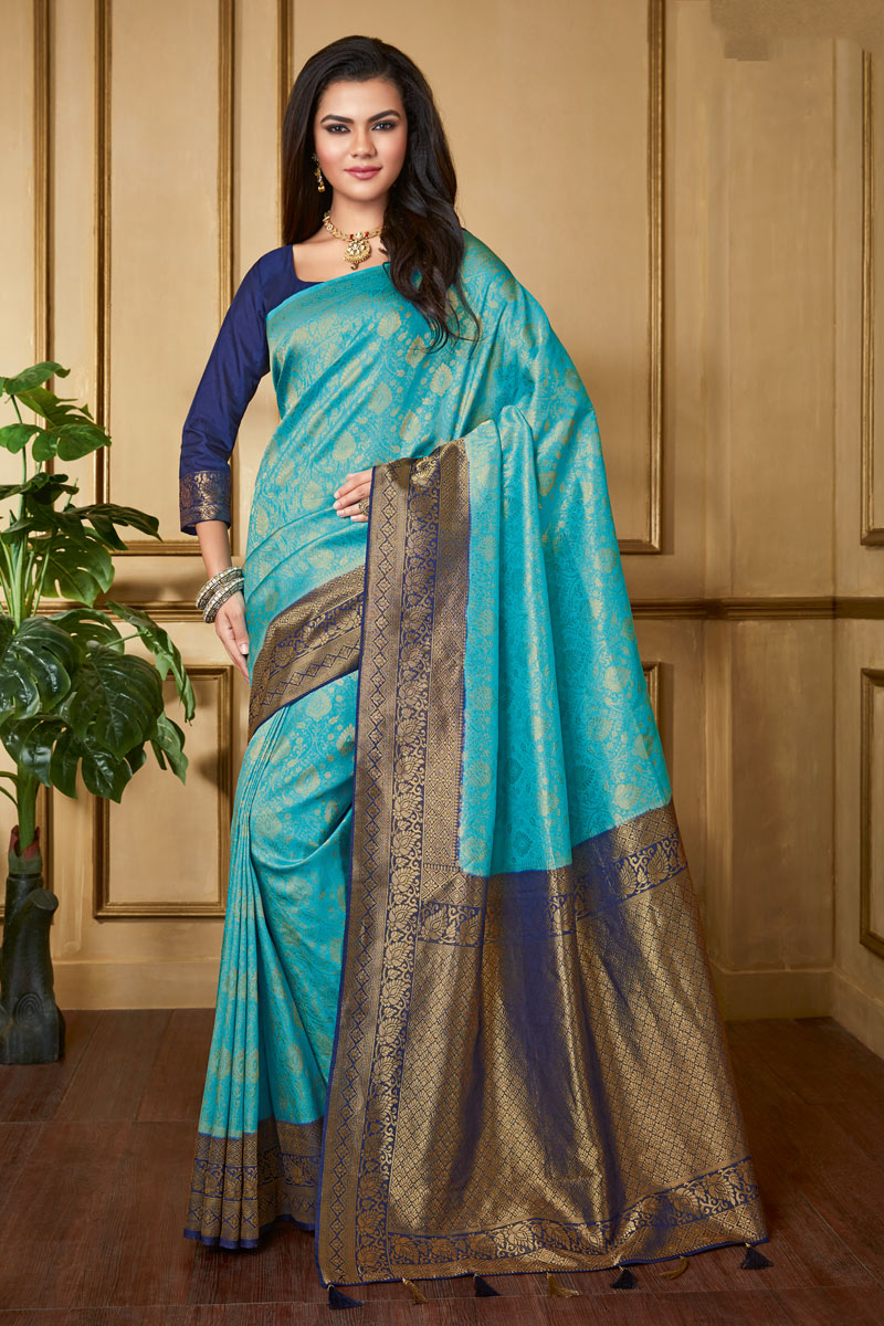 Art Silk Fabric Designer Weaving Work Saree In Sky Blue Color