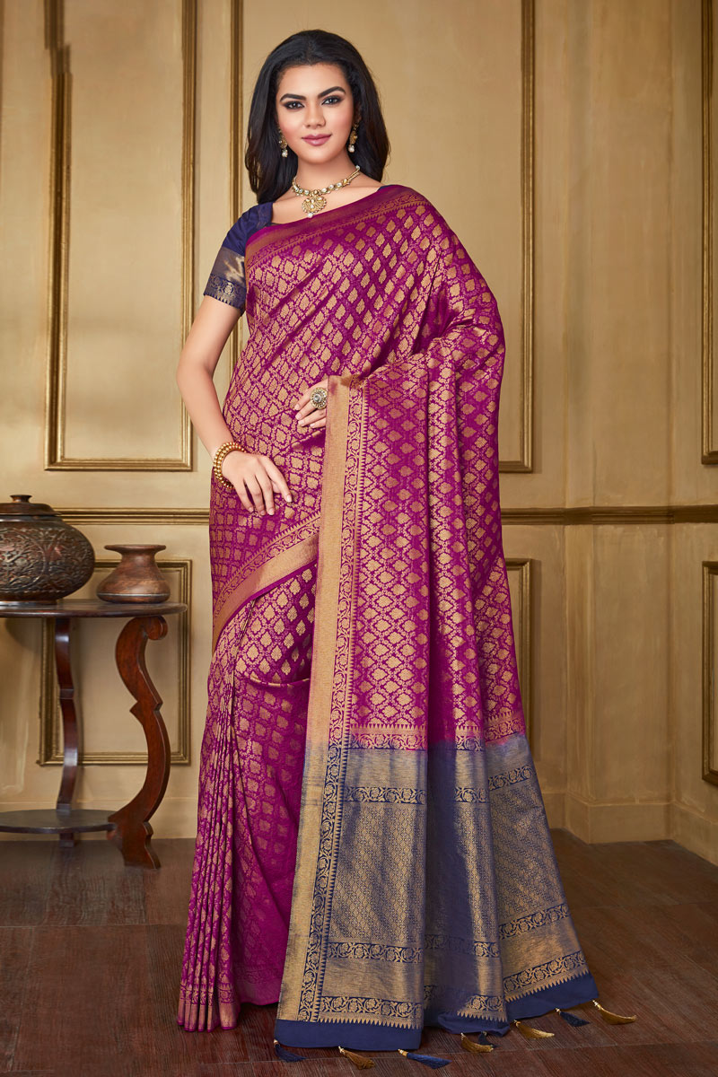 Magenta Color Party Wear Saree In Art Silk Fabric With Weaving Work