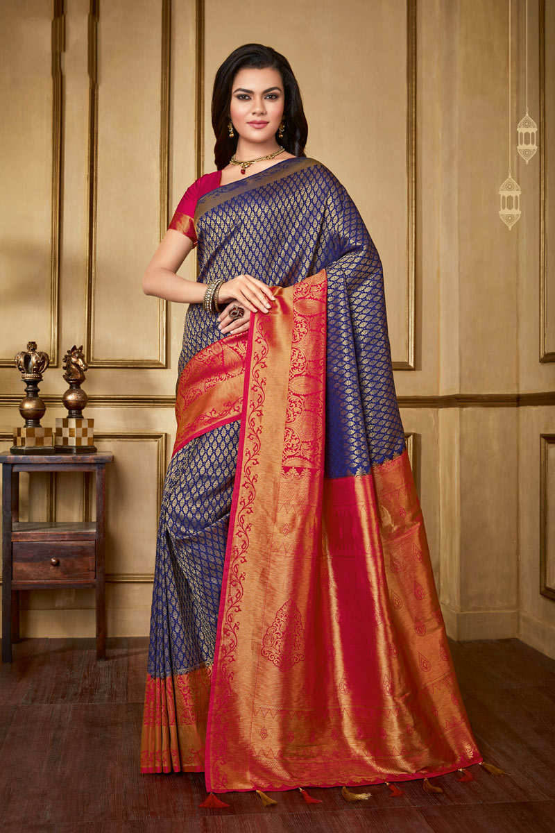 Occasion Wear Art Silk Fabric Weaving Work Saree In Blue Color With Designer Blouse