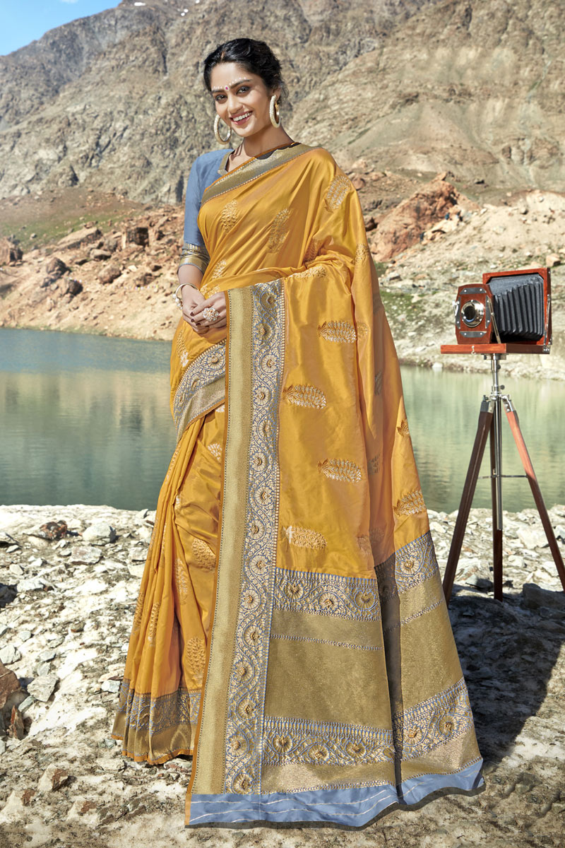 Banarasi Silk Fabric Party Wear Saree In Yellow Color With Weaving Work