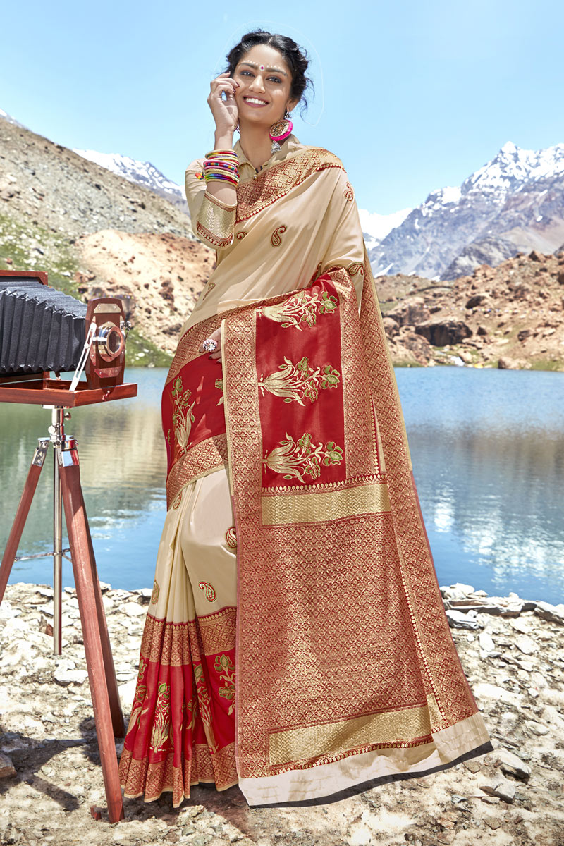 Weaving Work Banarasi Silk Fabric Beige Color Fancy Saree