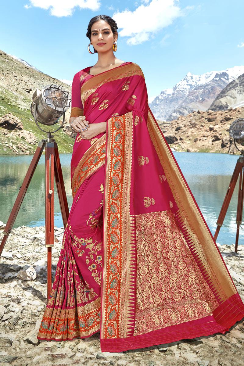 Weaving Work On Rani Color Designer Saree In Banarasi Silk Fabric