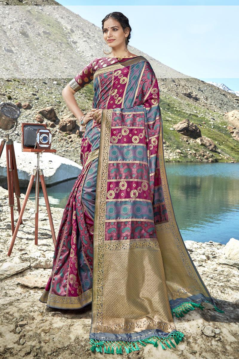 Multi Color Banarasi Silk Fabric Wedding Wear Saree With Fancy Weaving Work