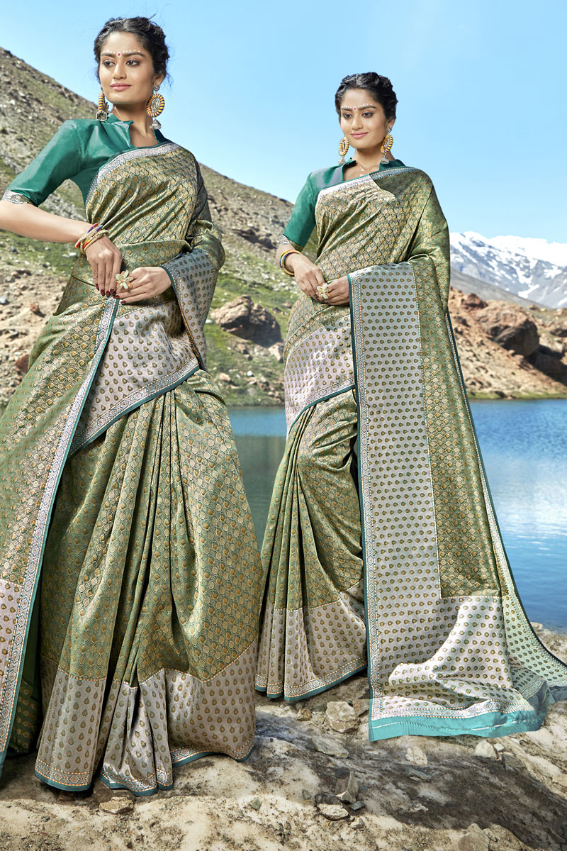 Khaki Color Banarasi Silk Fabric Occasion Wear Saree With Weaving Work And Designer Blouse