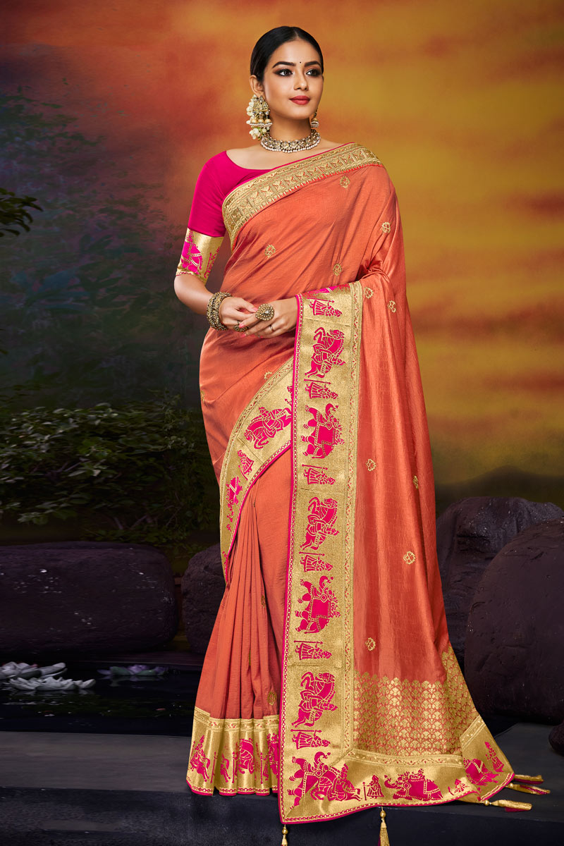 Embroidered Peach Color Fancy Fabric Party Wear Saree With Blouse