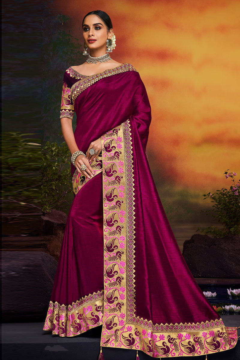 Purple Color Fancy Fabric Festive Wear Saree With Embroidery Work