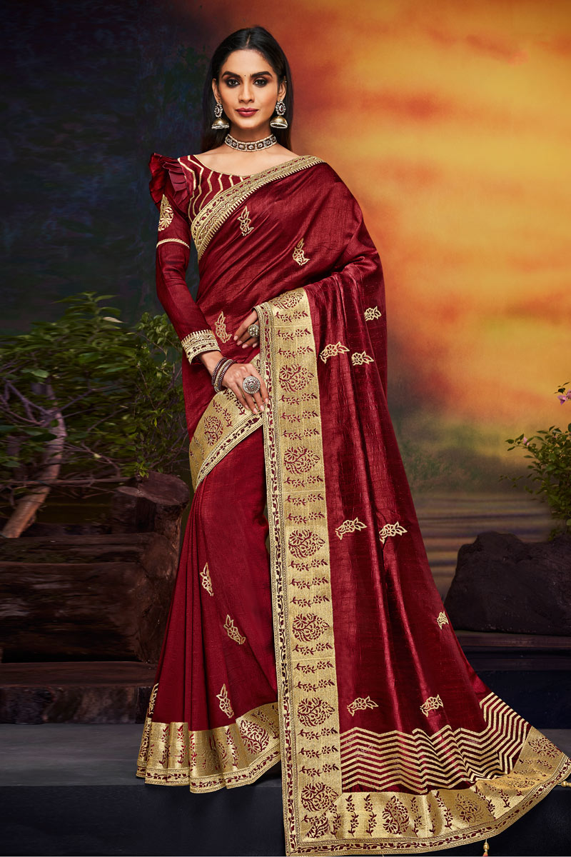 Embroidered Wedding Wear Saree In Fancy Fabric Maroon Color