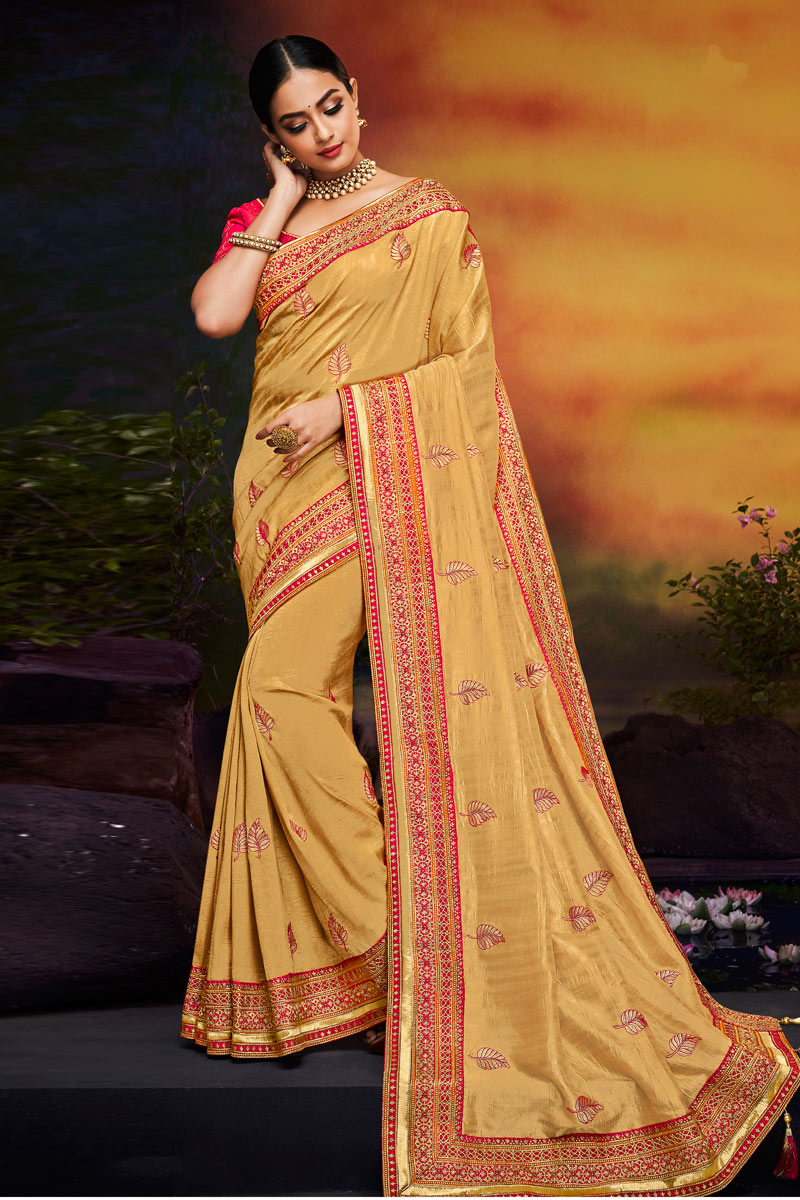 Beige Color Sangeet Wear Saree With Embroidery Work In Fancy Fabric
