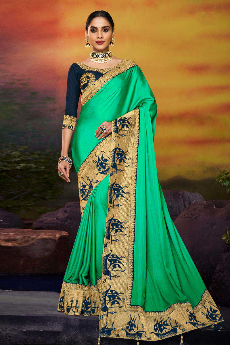 Embroidered Fancy Fabric Saree In Green Color With Party Wear Blouse
