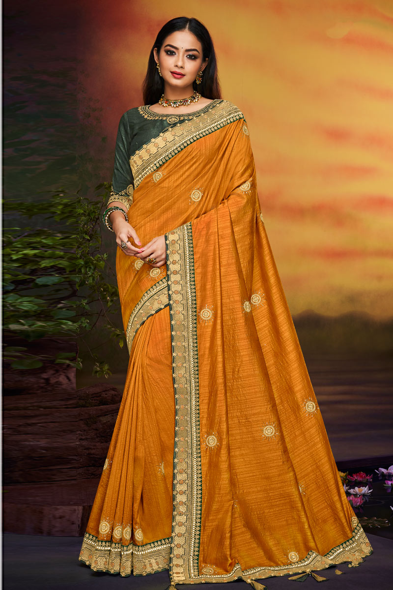 Orange Color Party Wear Saree In Fancy Fabric With Embroidery Work And Designer Blouse