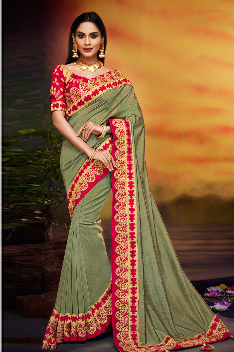 Fancy Fabric Dark Beige Color Festive Wear Saree With Embroidery Work And Designer Blouse