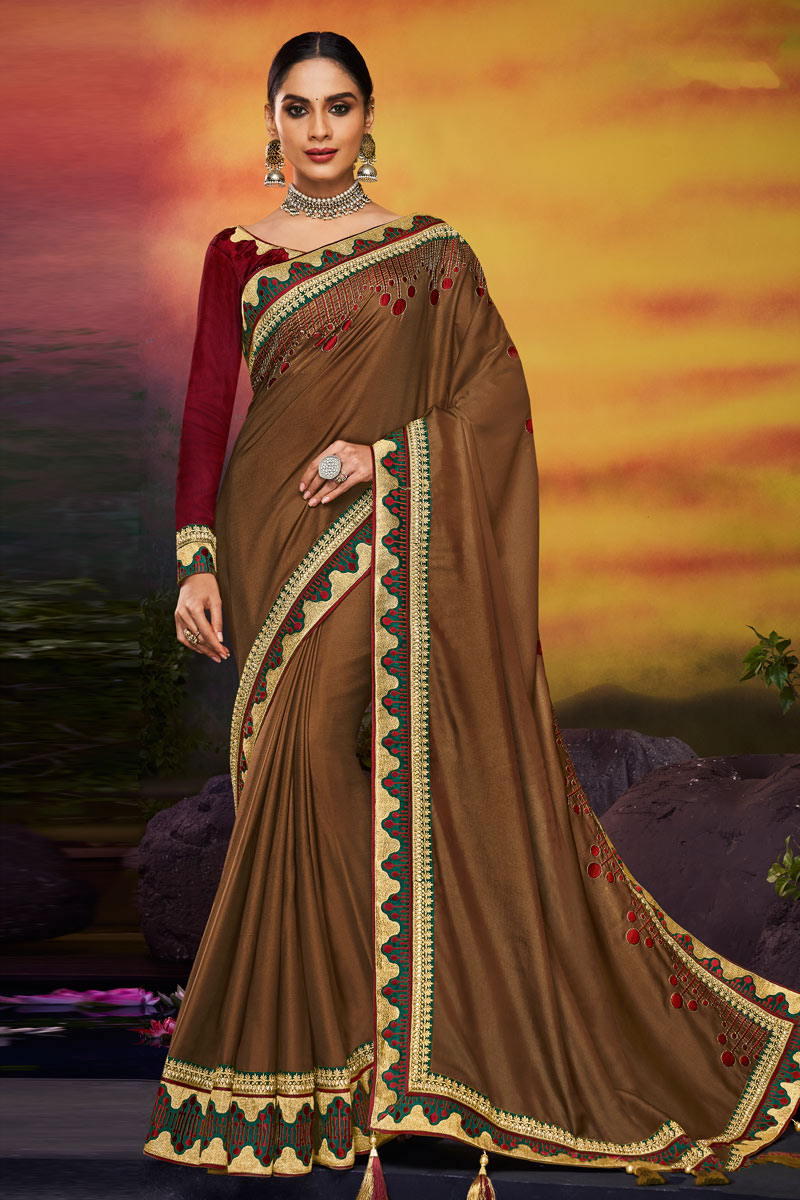 Designer Saree In Fancy Fabric Brown Color With Embroidery Work And Party Wear Blouse