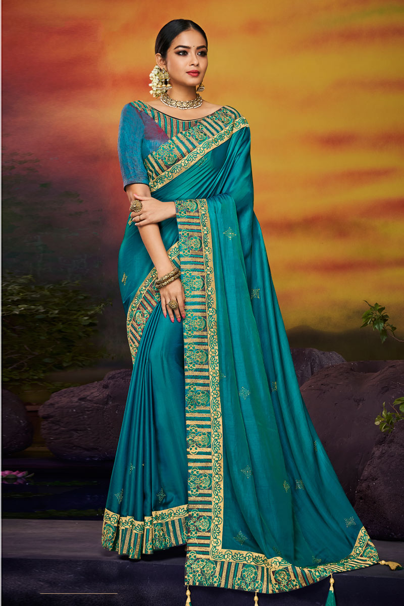 Embroidered Fancy Fabric Wedding Wear Sky Blue Color Saree With Designer Blouse