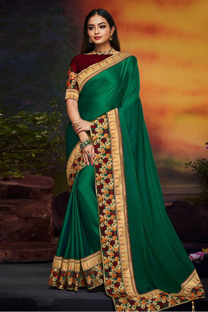Dark Green Color Fancy Fabric Designer Embroidered Saree With Party Wear Blouse