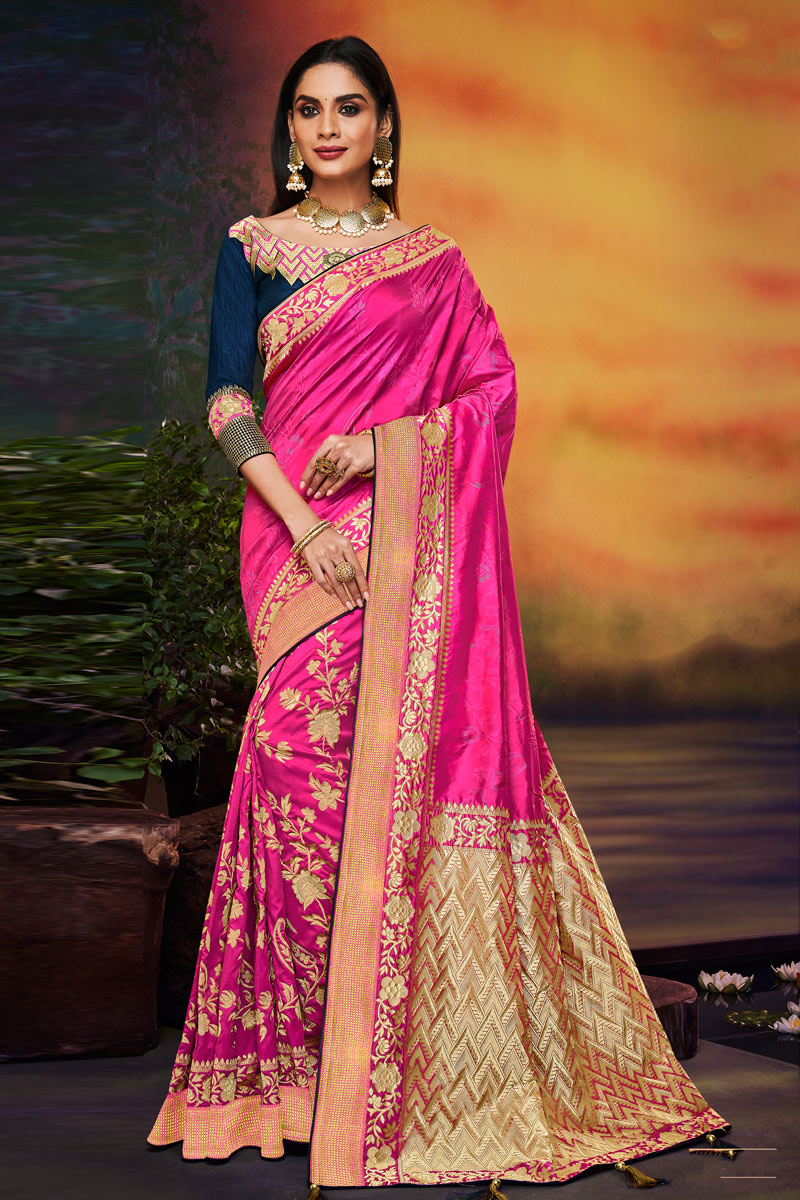 Fancy Fabric Magenta Color Festive Wear Saree With Embroidery Work And Designer Blouse