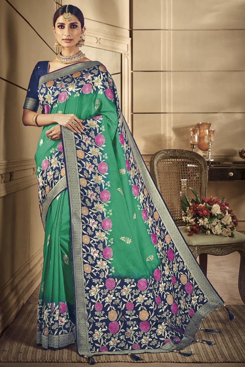 Green Art Silk Traditional Wear Designer Weaving Work Saree