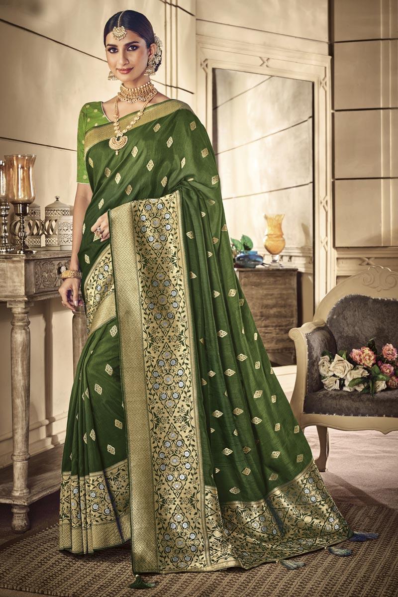 Art Silk Traditional Wear Designer Weaving Work Dark Green Saree