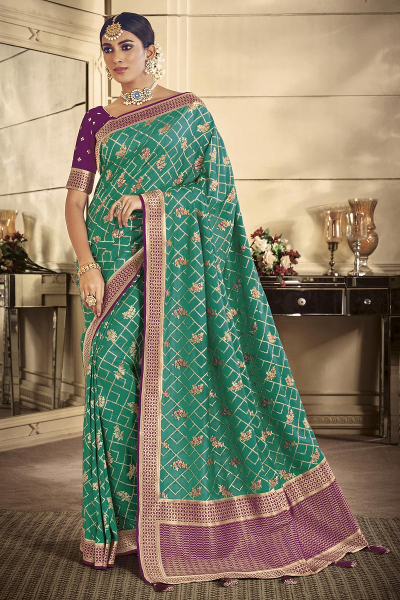 Traditional Wear Art Silk Designer Cyan Weaving Work Saree