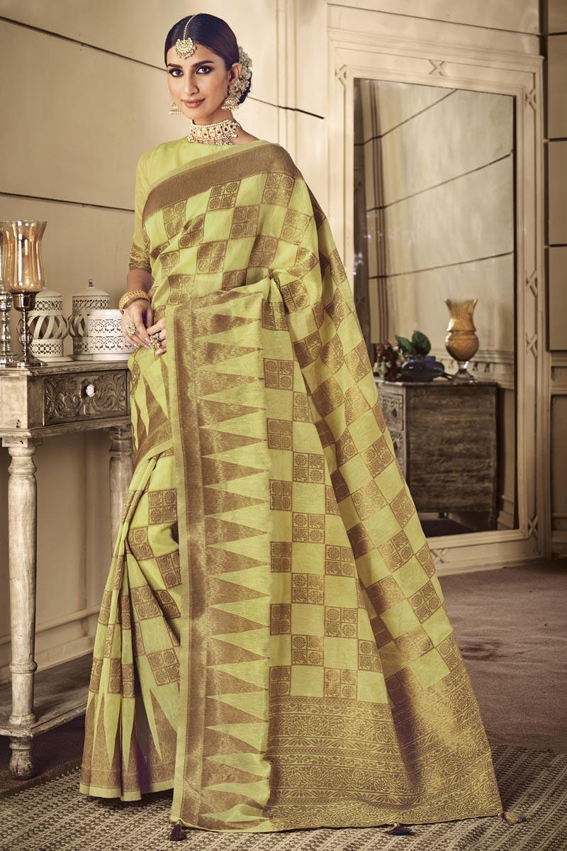 Art Silk Traditional Wear Yellow Designer Weaving Work Saree
