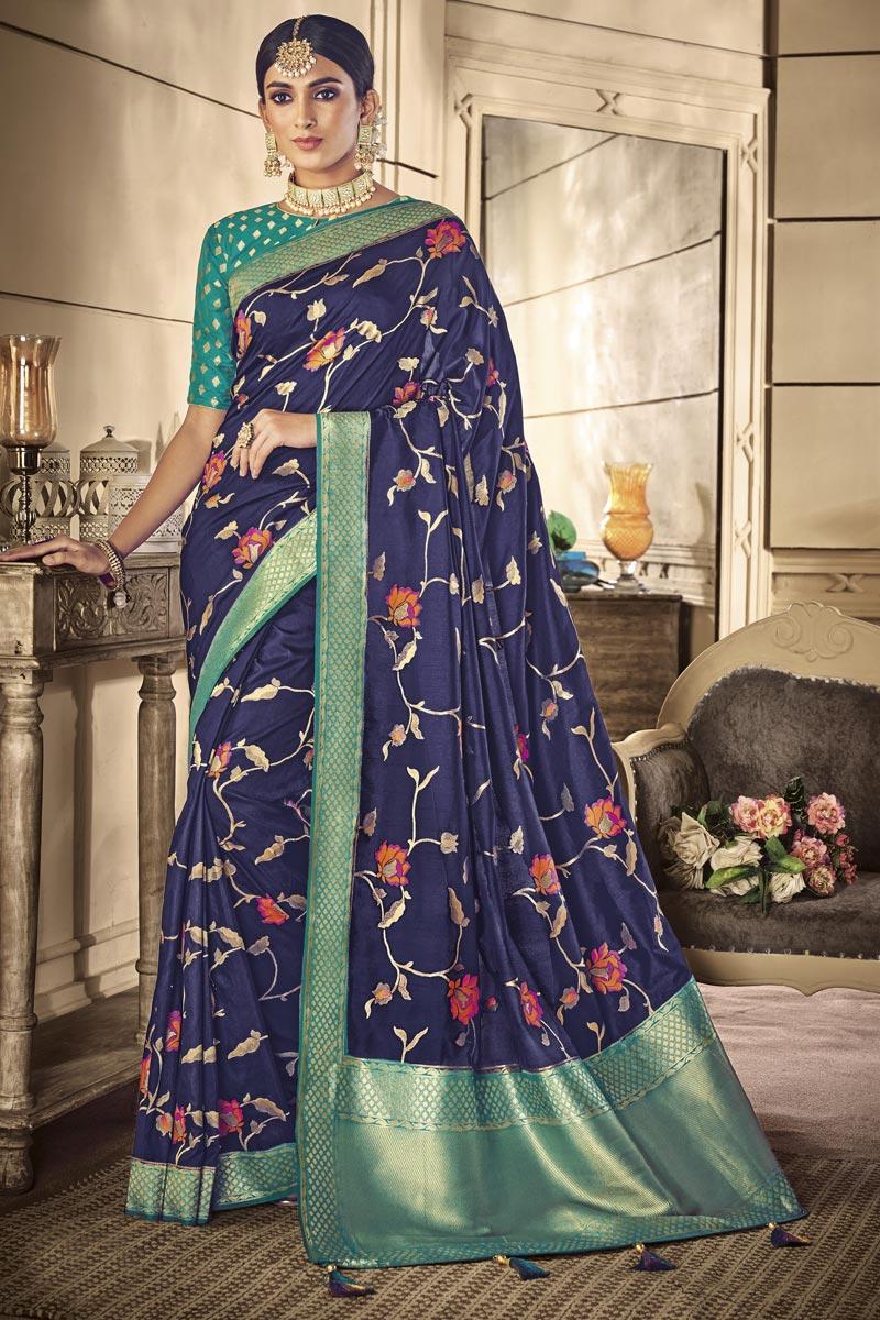 Traditional Wear Art Silk Navy Blue Designer Weaving Work Saree