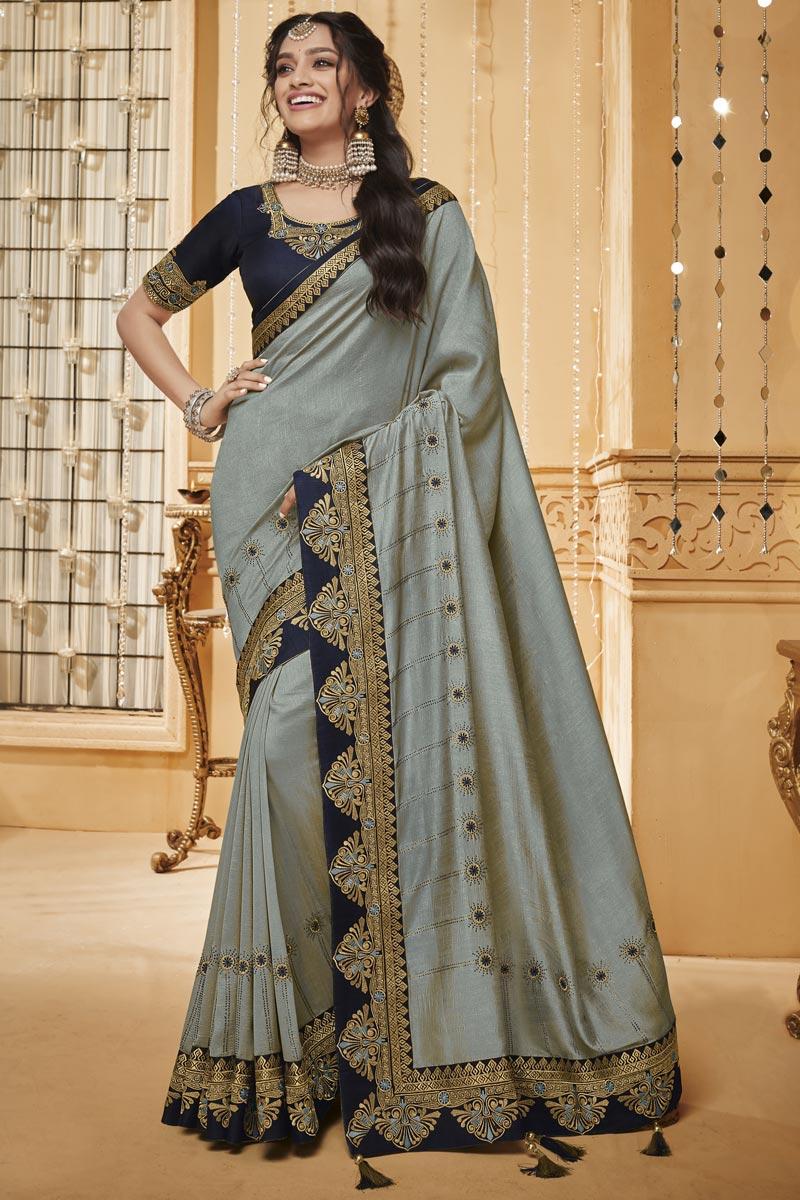 Function Wear Art Silk Designer Border Work Saree In Grey