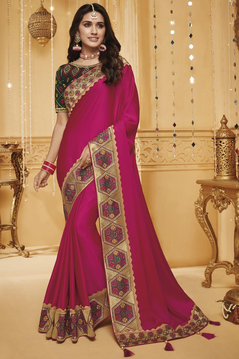 Function Wear Rani Color Art Silk Designer Saree With Border Work