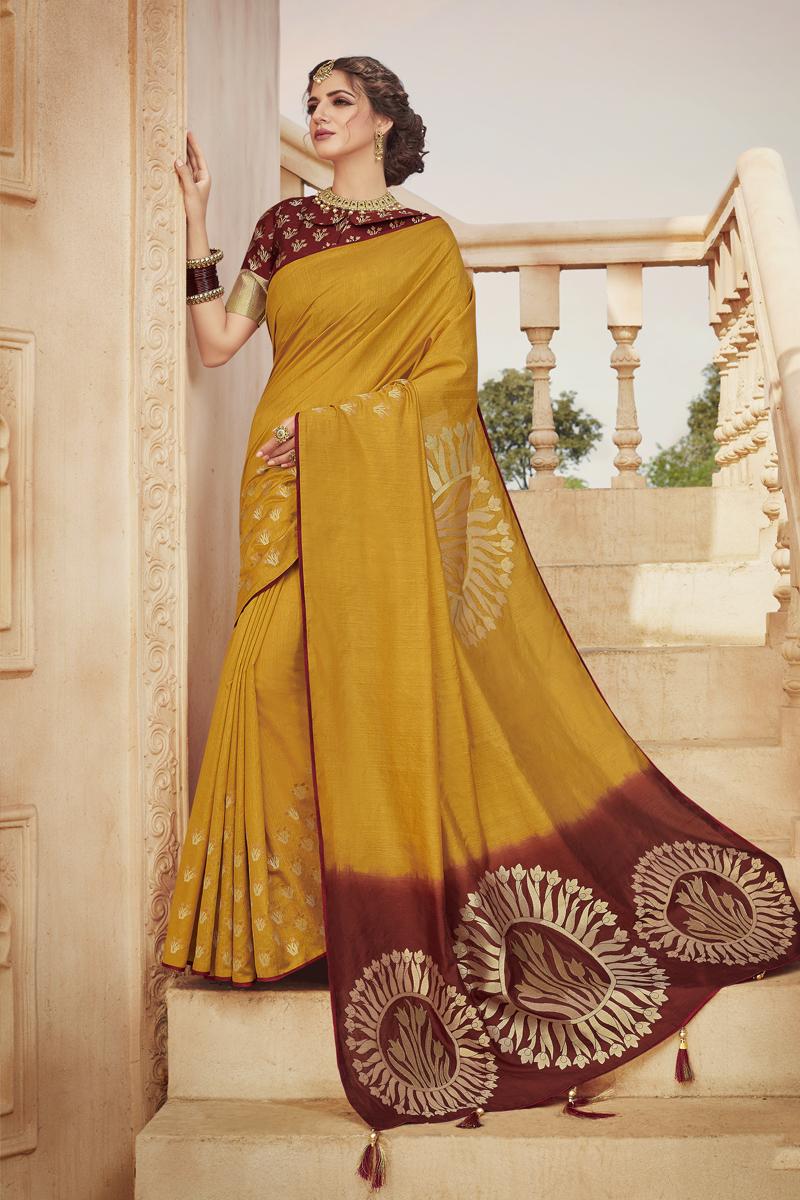 Festive Special Mustard Color Sangeet Wear Fancy Saree In Art Silk Fabric