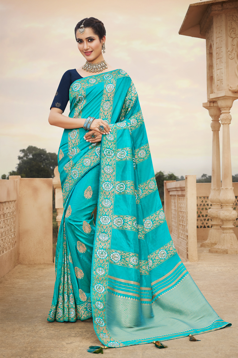 Art Silk Fabric Party Wear Saree In Cyan Color