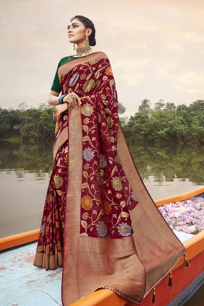 Maroon Color Art Silk Fabric Occasion Wear Saree