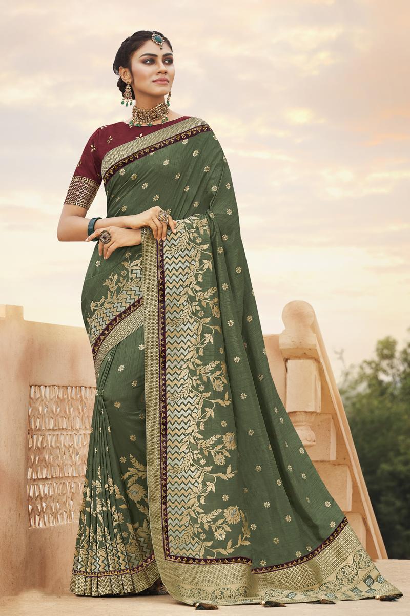 Function Wear Dark Olive Color Saree In Art Silk Fabric
