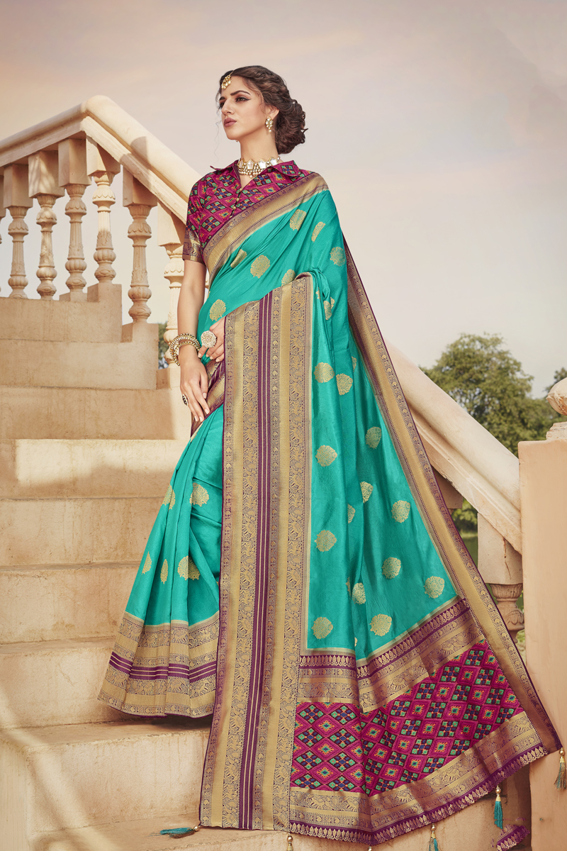 Light Teal Color Art Silk Fabric Function Wear Saree