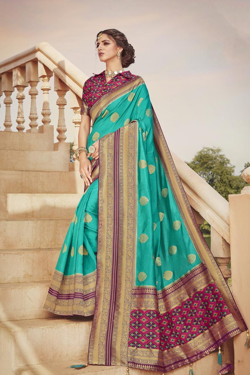 Designer Light Teal Color Art Silk Fabric Party Wear Saree