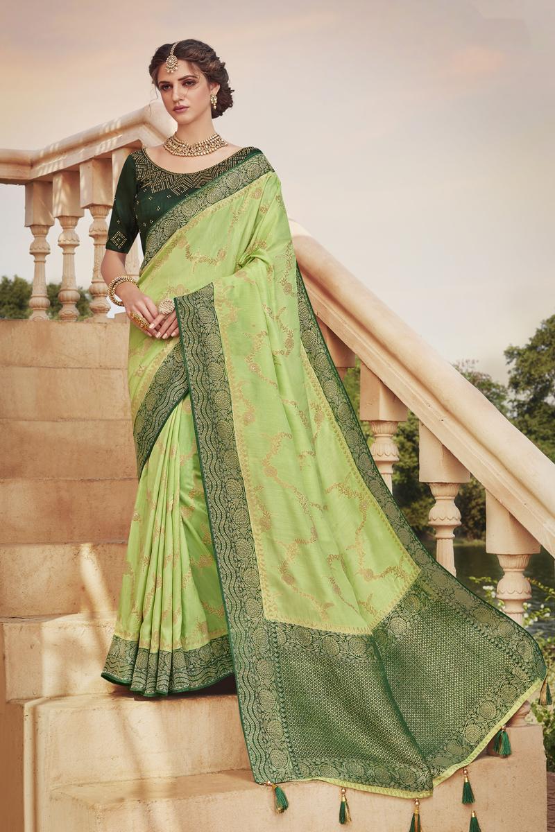 Art Silk Fabric Designer Saree In Green Color