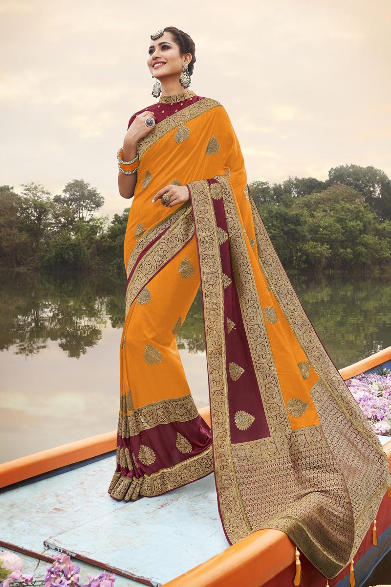 Designer Art Silk Fabric Orange Color Party Wear Saree
