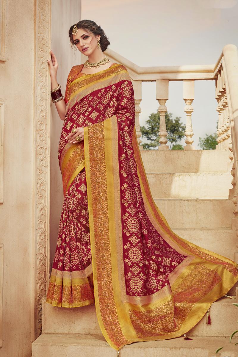 Fancy Art Silk Fabric Maroon Color Saree