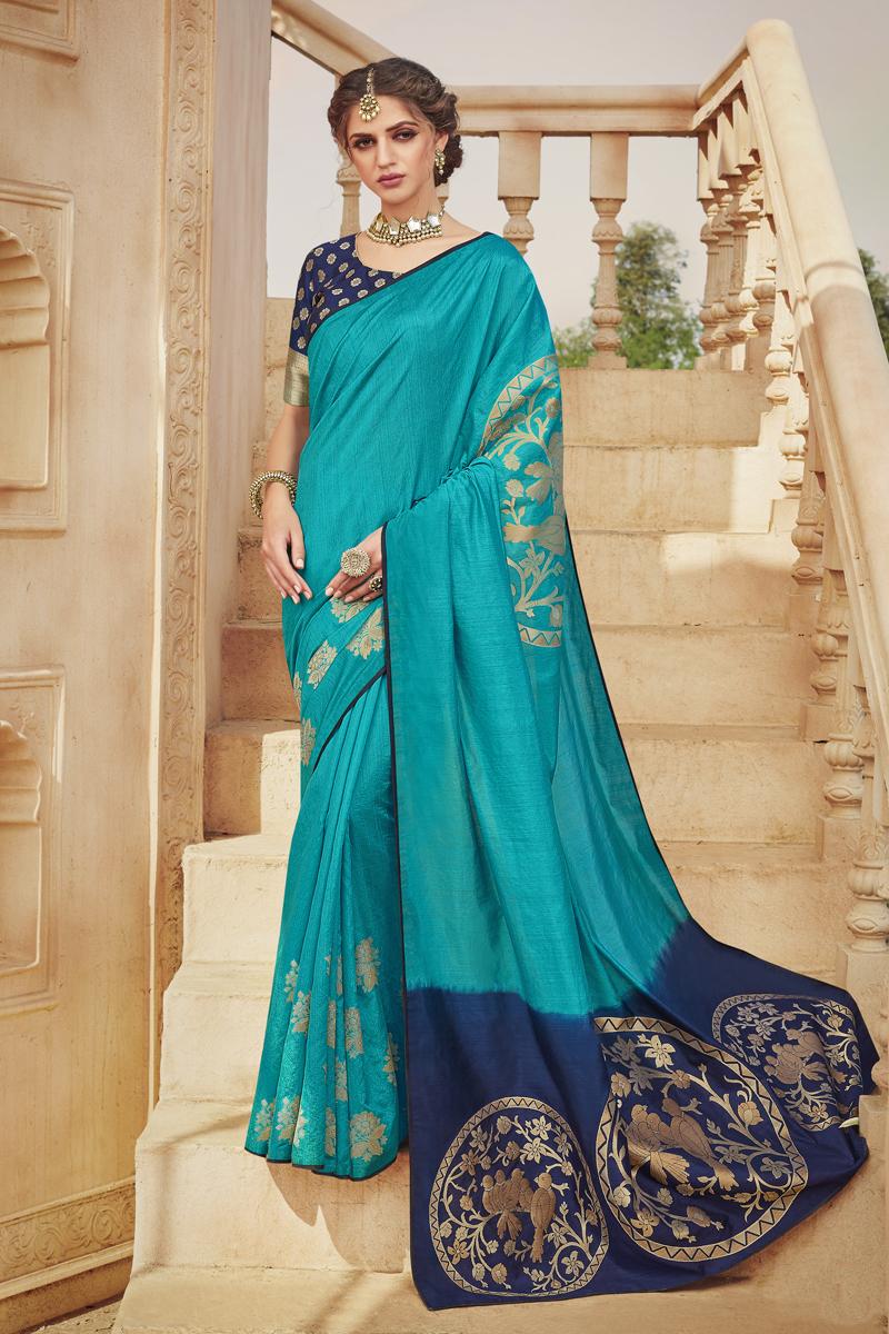 Cyan Color Art Silk Fabric Party Wear Saree