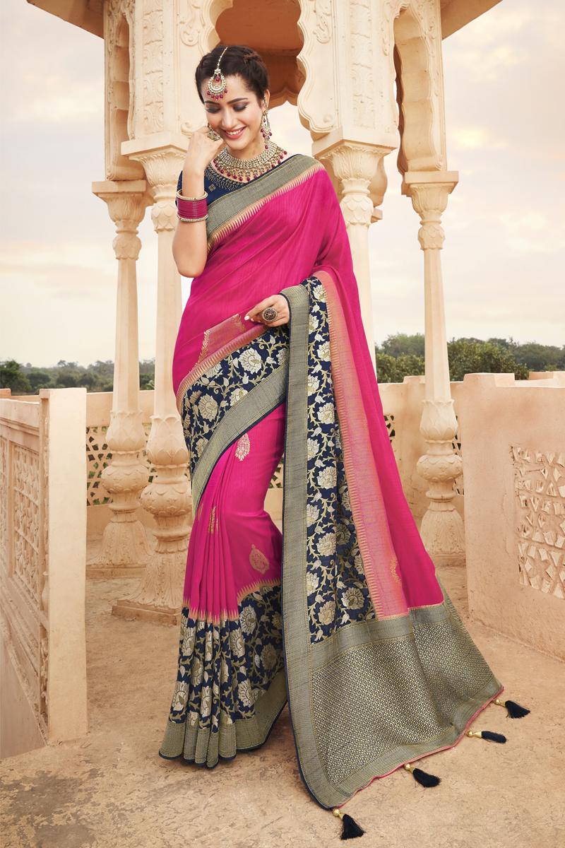 Designer Rani Color Occasion Wear Saree In Art Silk Fabric