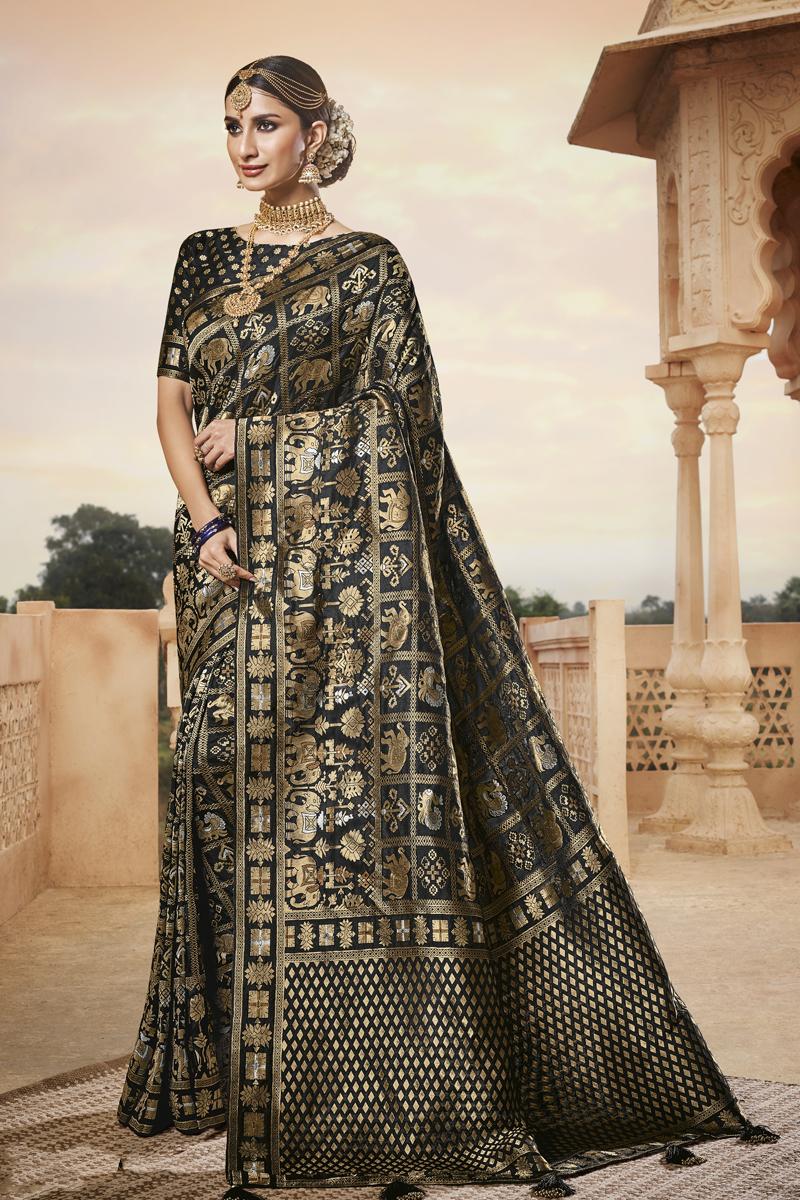 Black Color Art Silk Fabric Occasion Wear Saree