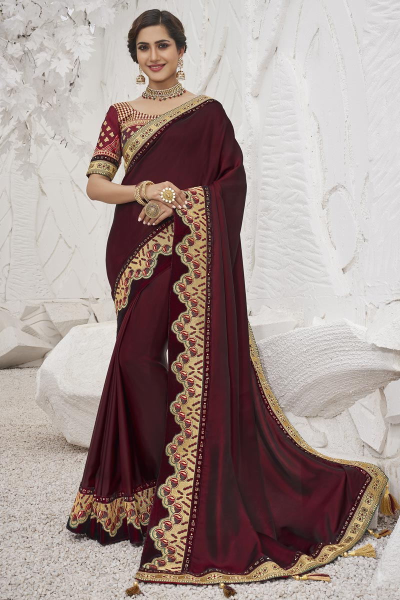 Sangeet Wear Art Silk Fabric Trendy Border Work Saree In Maroon Color
