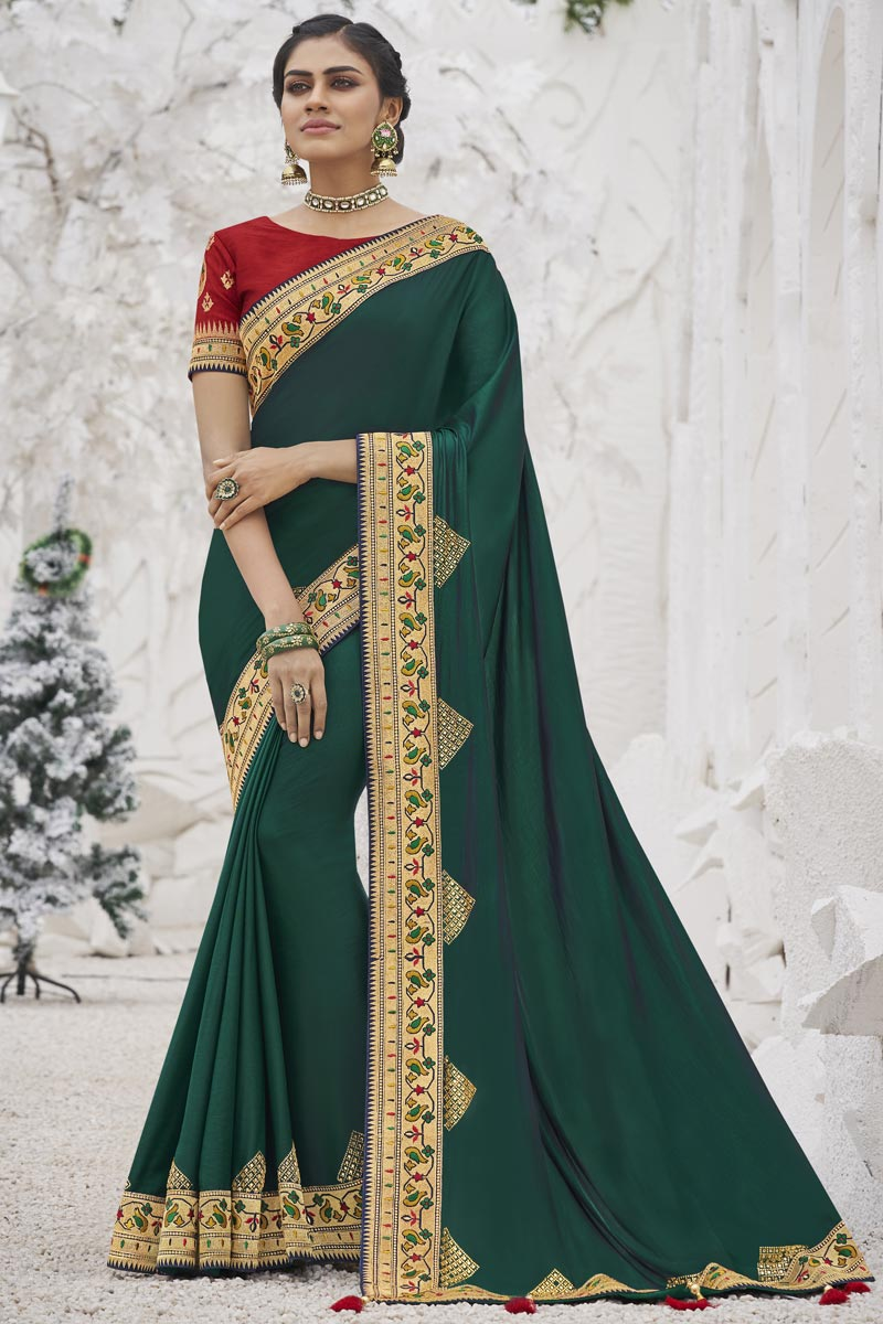 Dark Green Color Sangeet Wear Art Silk Fabric Trendy Border Work Saree