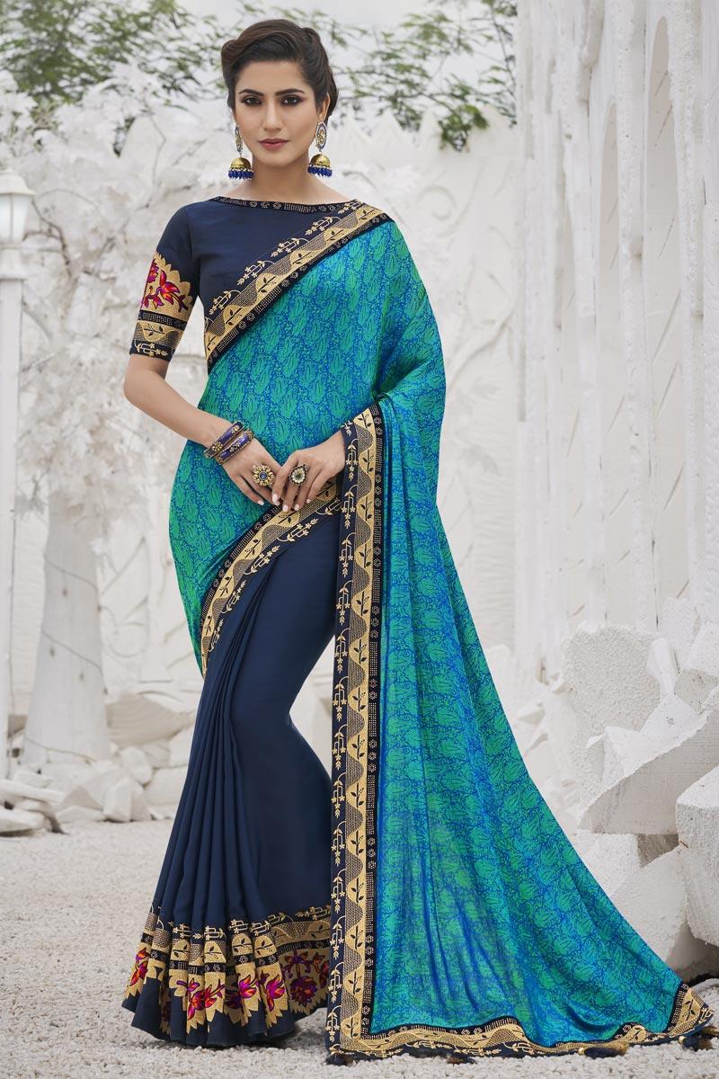 Art Silk Fabric Sangeet Wear Trendy Navy Blue Color Border Work Saree