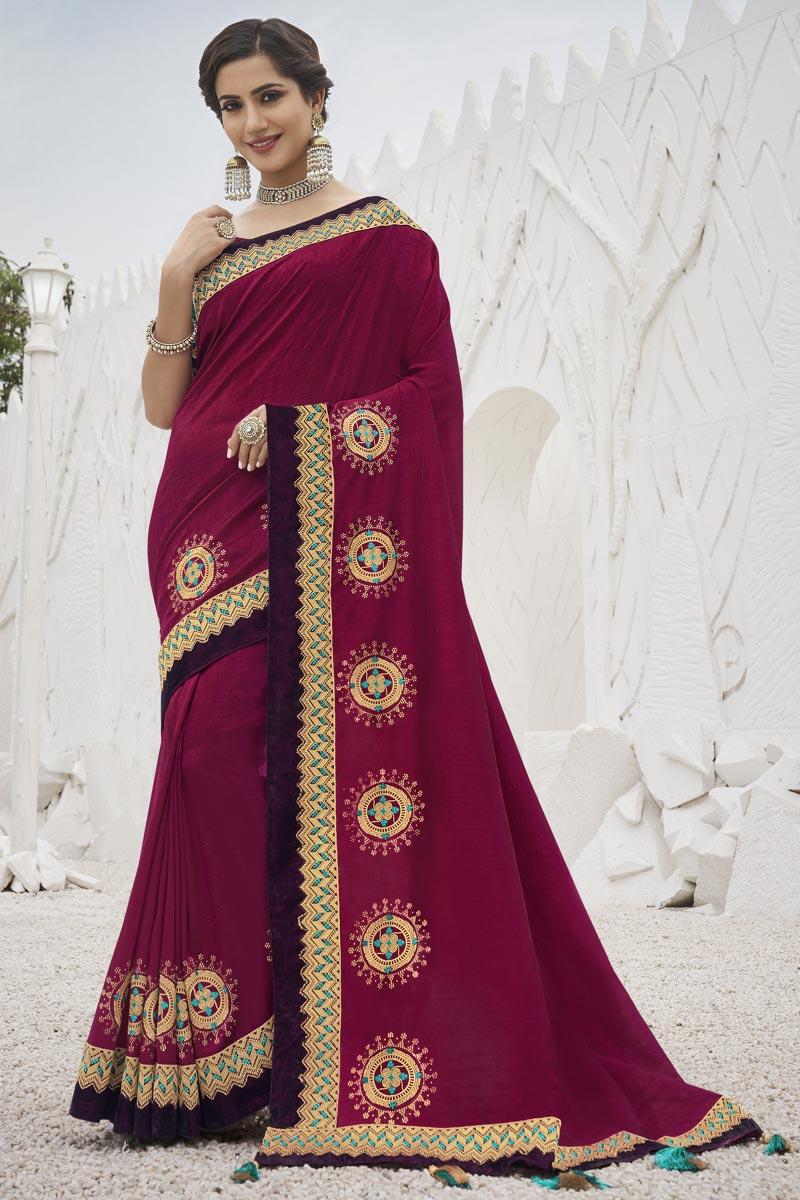 Sangeet Wear Dark Pink Color Trendy Art Silk Fabric Border Work Saree