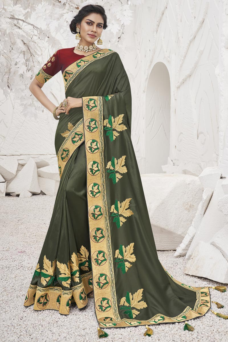 Sangeet Wear Mehendi Green Color Trendy Border Work Saree In Art Silk Fabric