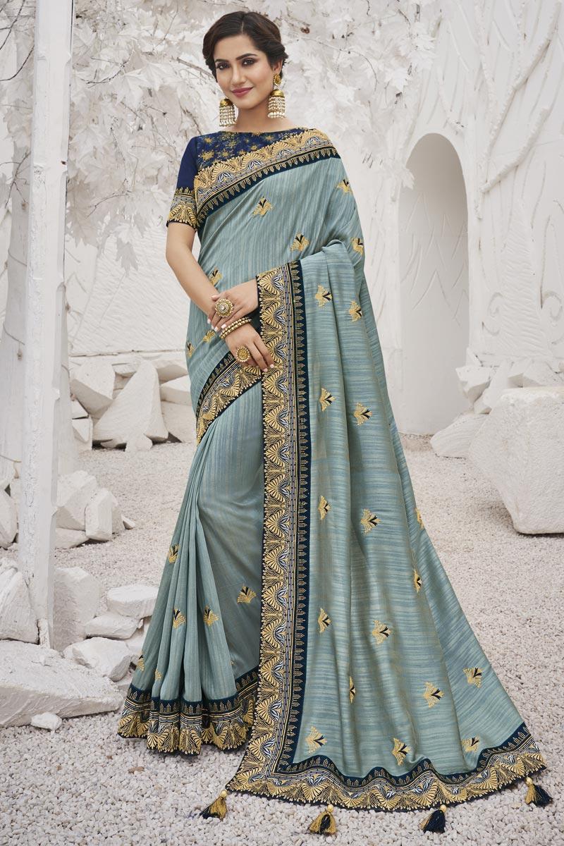 Art Silk Fabric Sangeet Wear Trendy Grey Color Border Work Saree